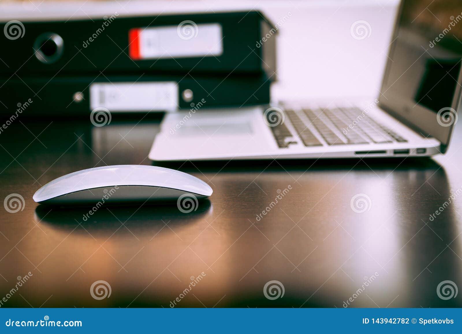 Ratón con la oficina del ordenador portátil