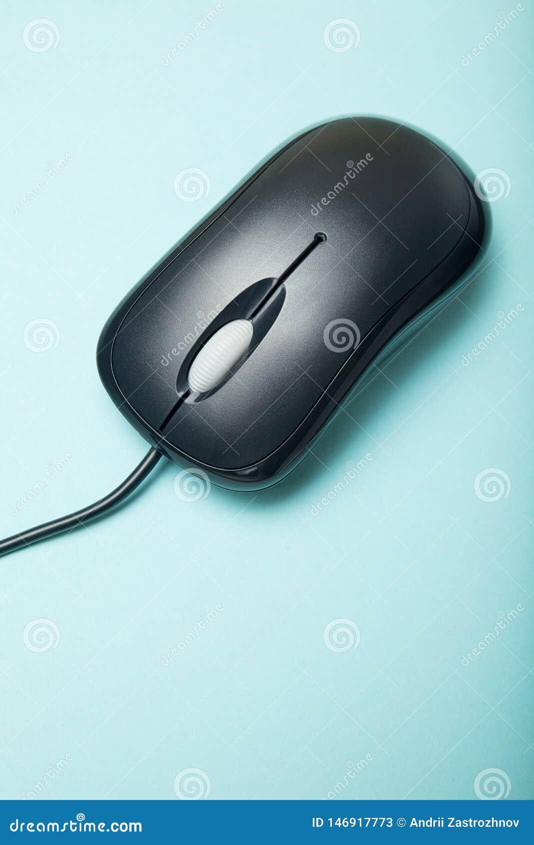 Ratón de la PC aislado en el fondo azul, vertical