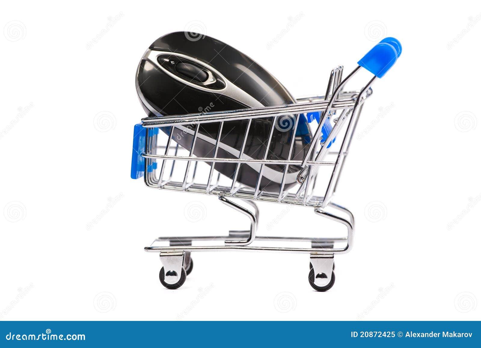 Ratón del ordenador en carro de compras