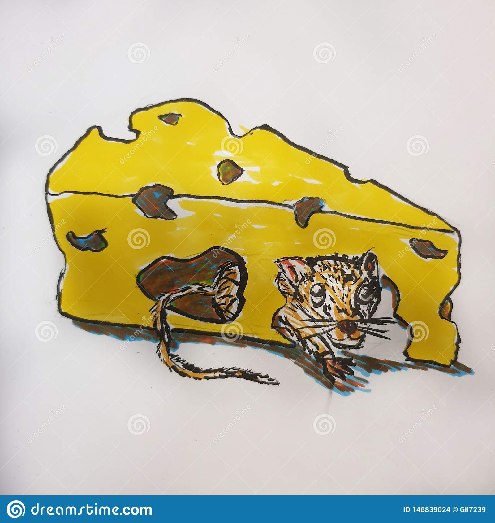 Ratón en un queso amarillo