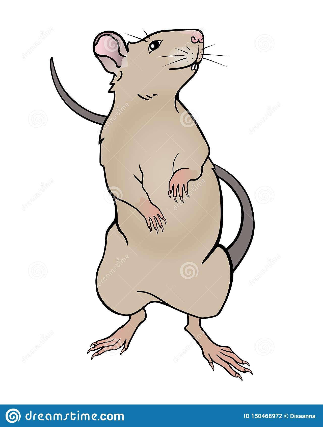 Rat beige color stands on its hind legs. Rat symbol of 2020 - full color vector picture.