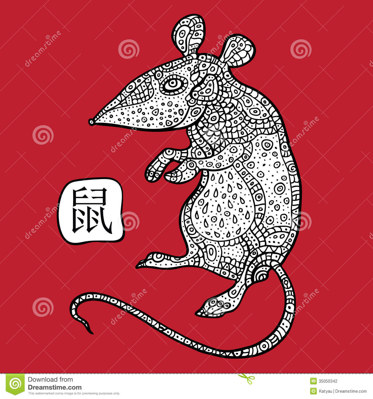 Chinese Zodiac. Chinese Animal astrological sign. Rat. Vector ...