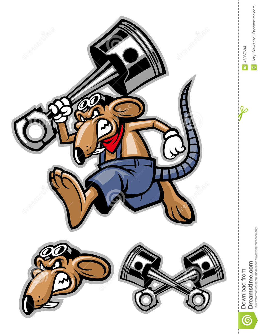 rat mascot holding a big piston stock vector illustration of part