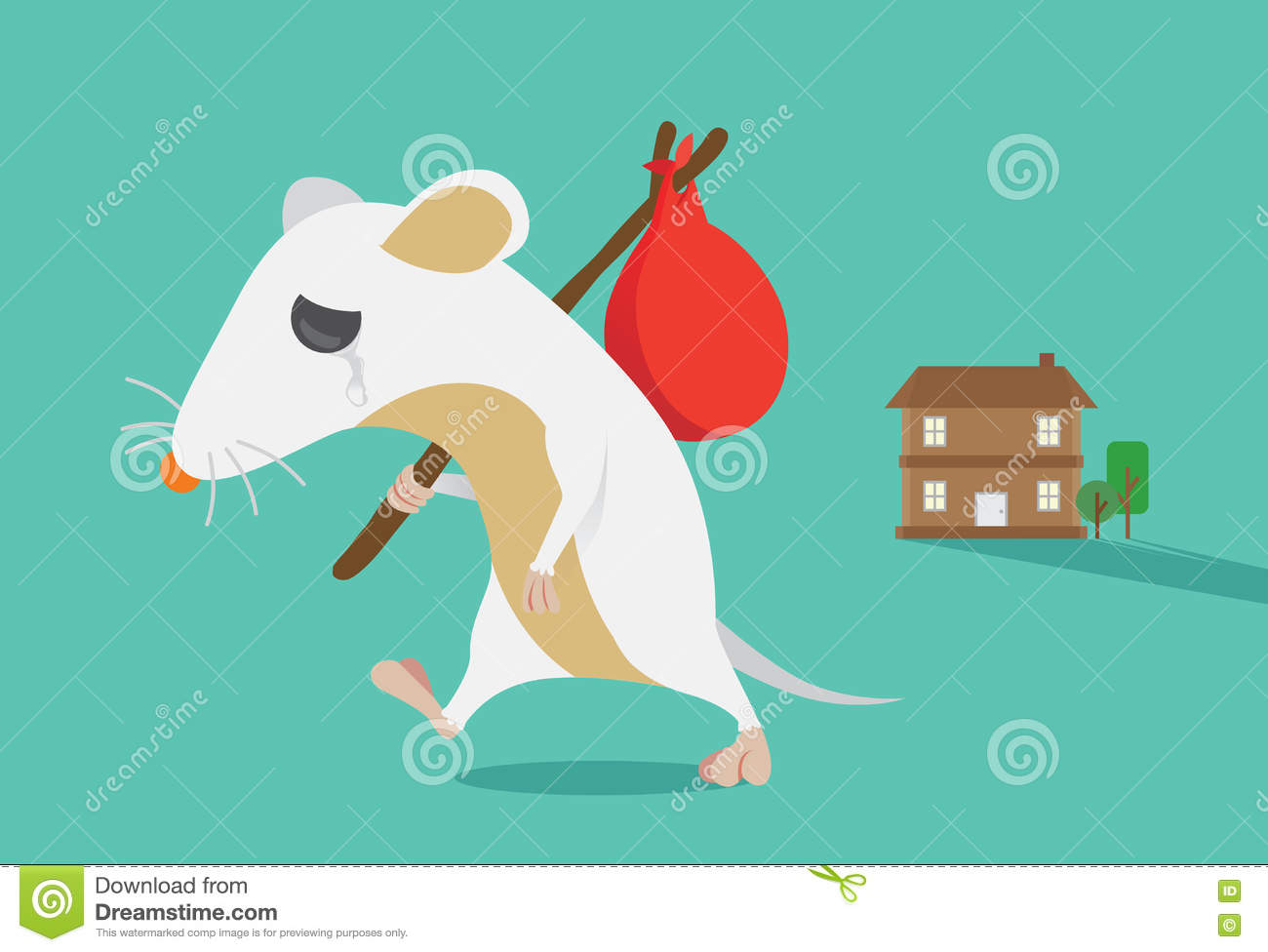 rat moving out of home stock vector illustration of away 73383714