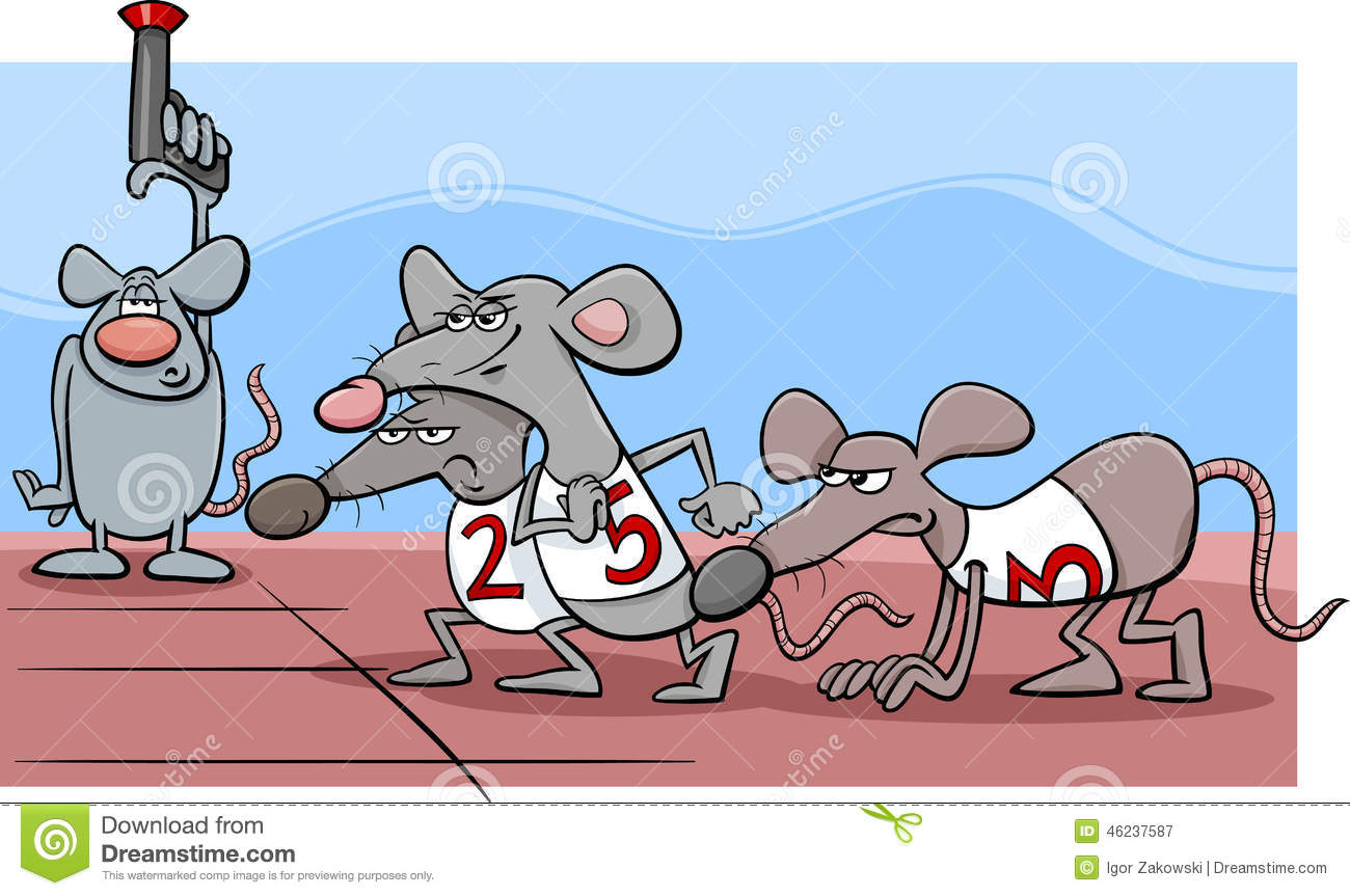 Cartoon Humor Concept Illustration of Rat Race Saying or Proverb.