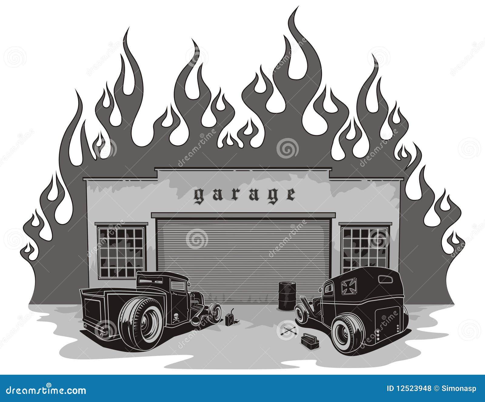 Rat Rods Garage Stock Vector Image Of Club Vehicle