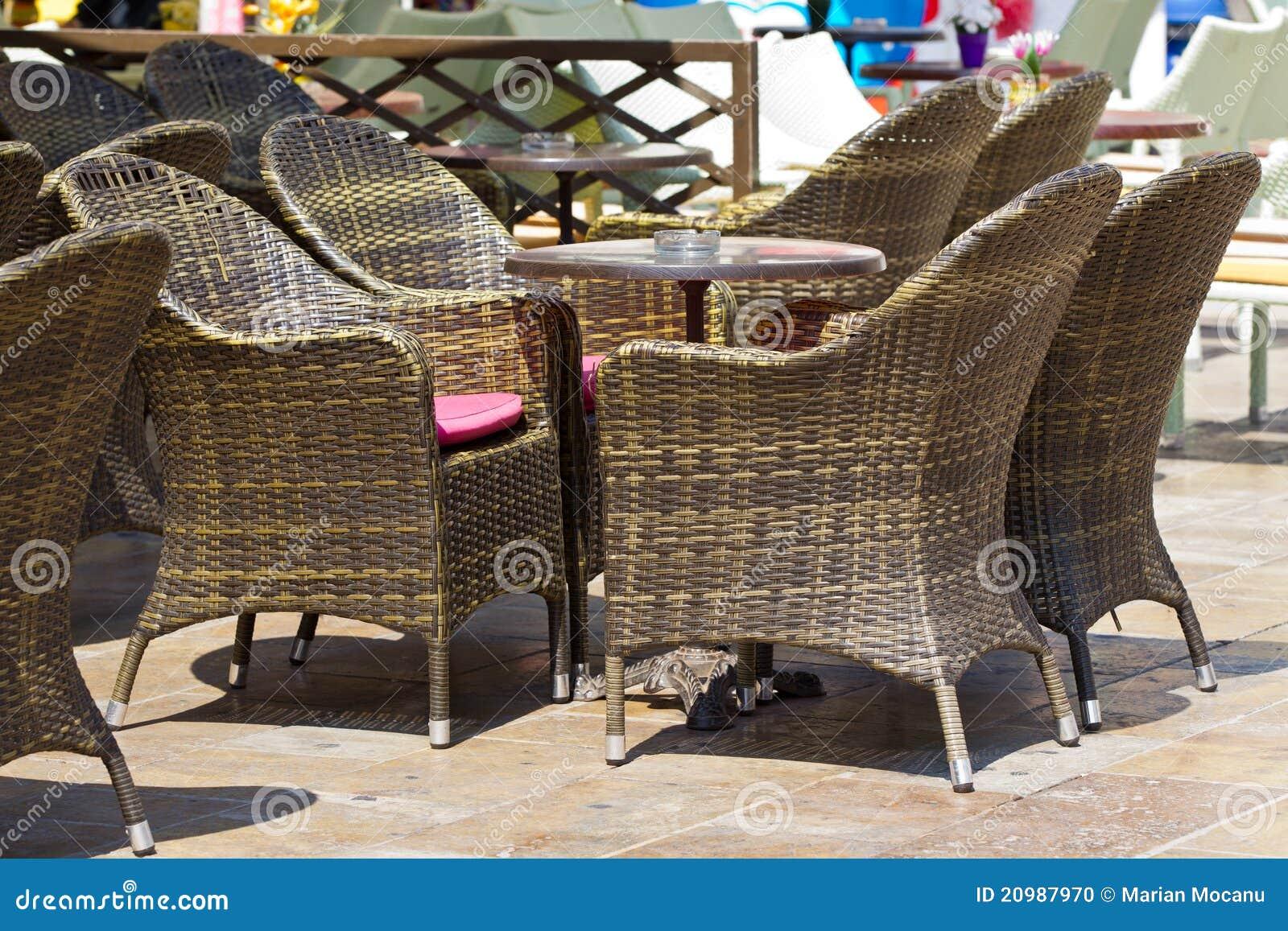 Ratan furniture on terrace