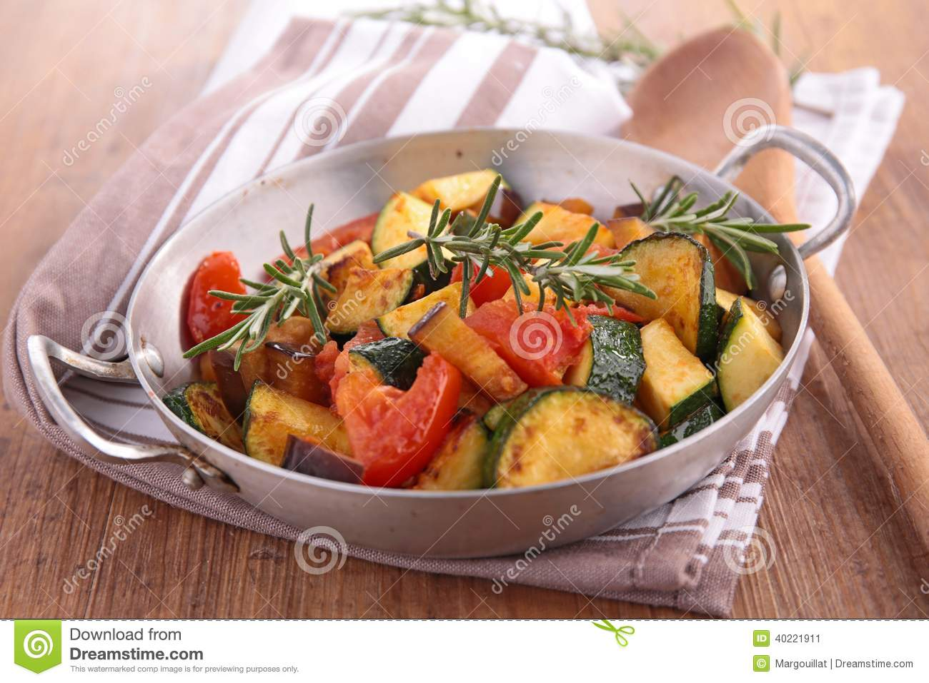 Close up on cooked ratatouille.