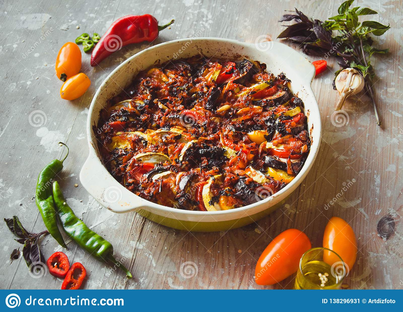 Ratatouille - traditional French vegetable dish cooked in oven. Diet vegetarian vegan food - Ratatouille casserole