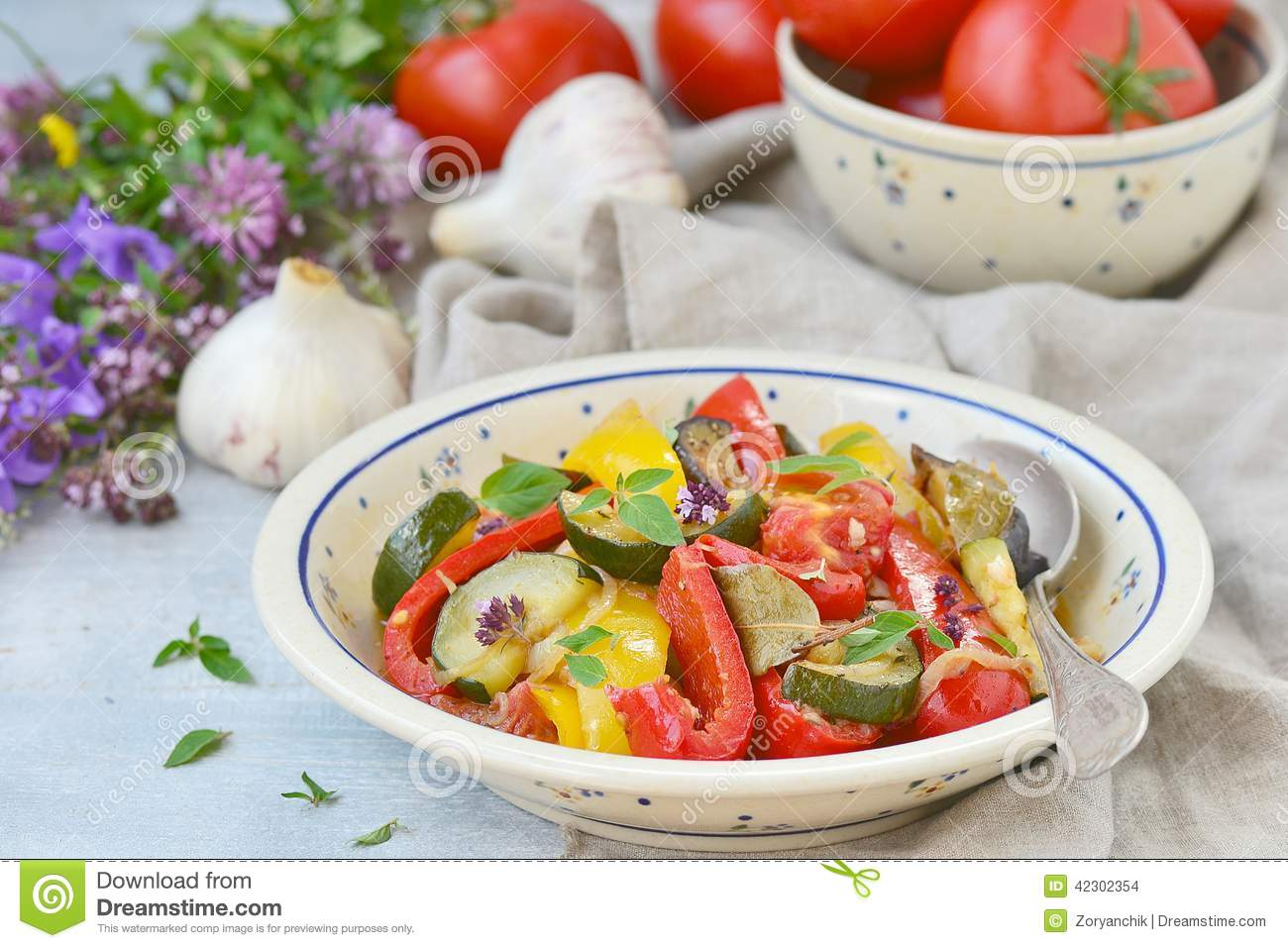 ... , traditional French vegetable stew in a ceramic dish. rustic style