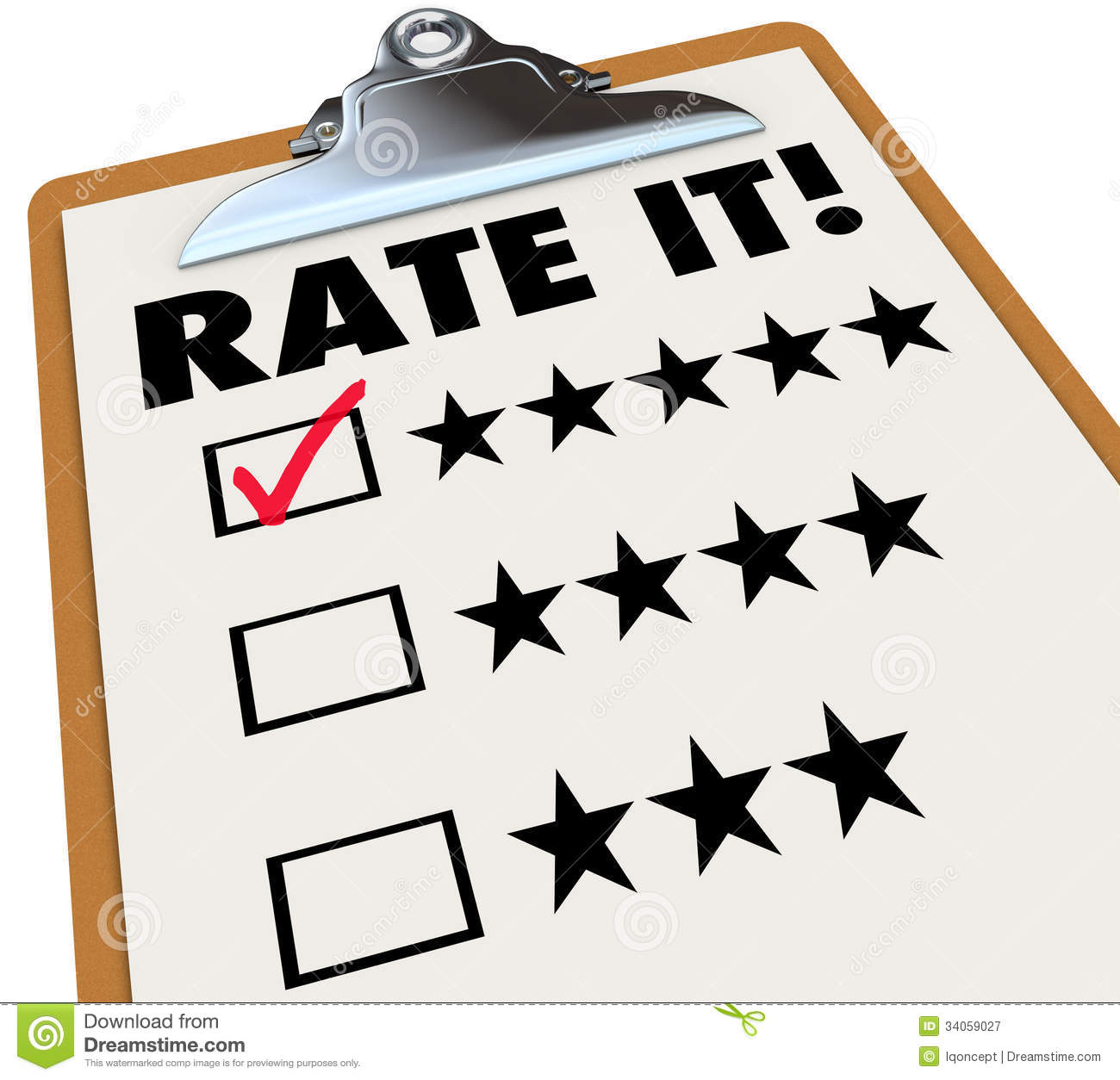 The words Rate It on a clipboard with stars next to ratings or reviews ...