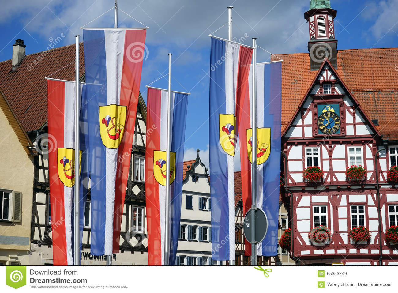 Bad Urach Germany  city photos gallery : BAD URACH, GERMANY CIRCA AUGUST 2015 Rathouse and flags on the ...