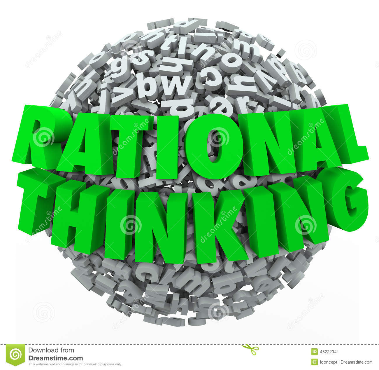 Rational Thinking 3d Words Reasonable Sensible Thought Stock ...