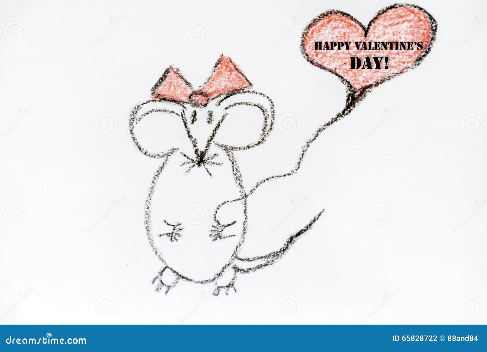 Rat n del dibujo en el amor muestra feliz del d a de tarjetas del d a de san valent n stock de - Dessin de l amour ...