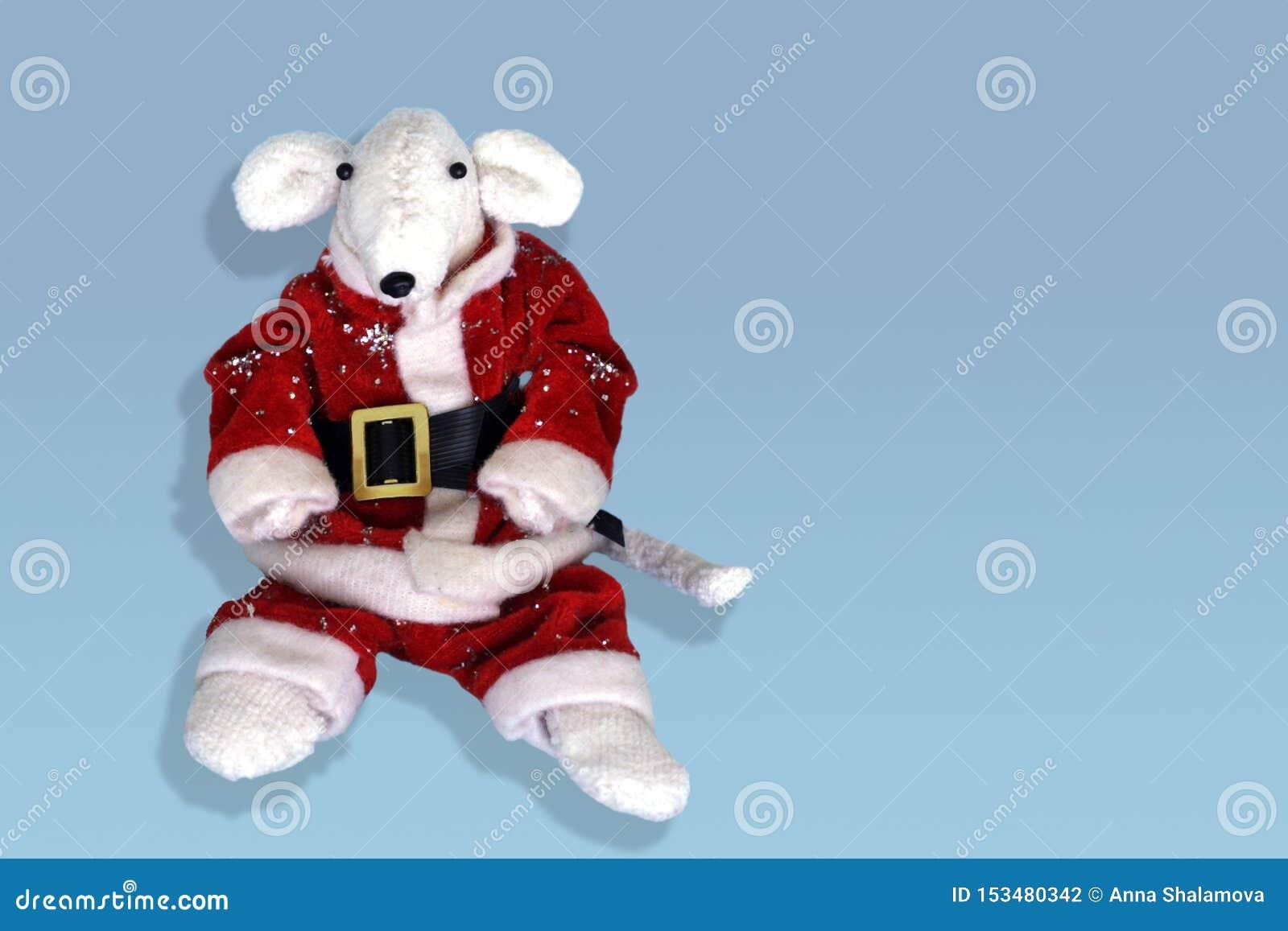 Rato branco bonito em um traje vermelho de Santa Claus Ano do rato Cartão com símbolo 2020 do ano novo de 2020 no oriental