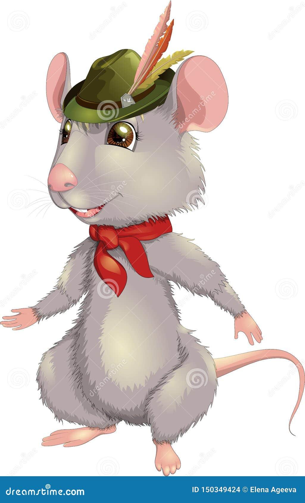 Rato de sorriso da ilustração do vetor com um chapéu