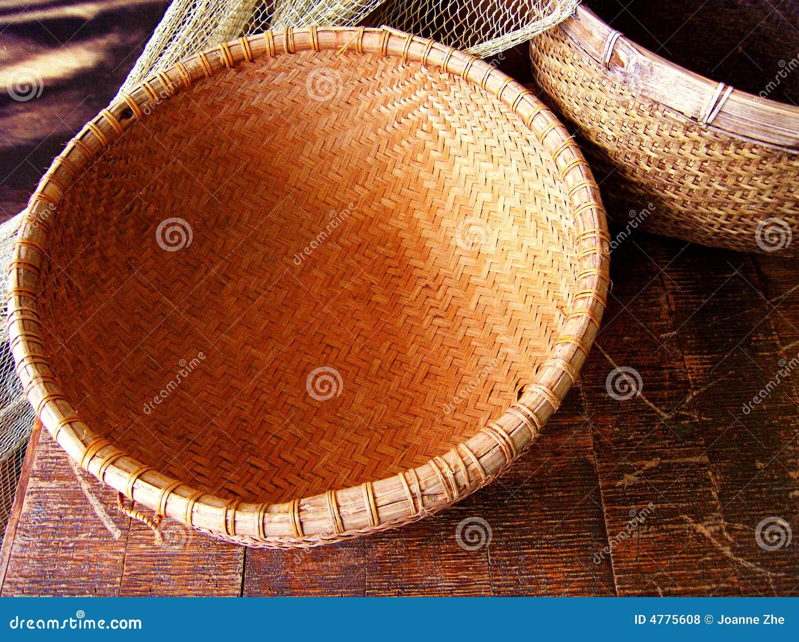 Rattan basket and fishing net