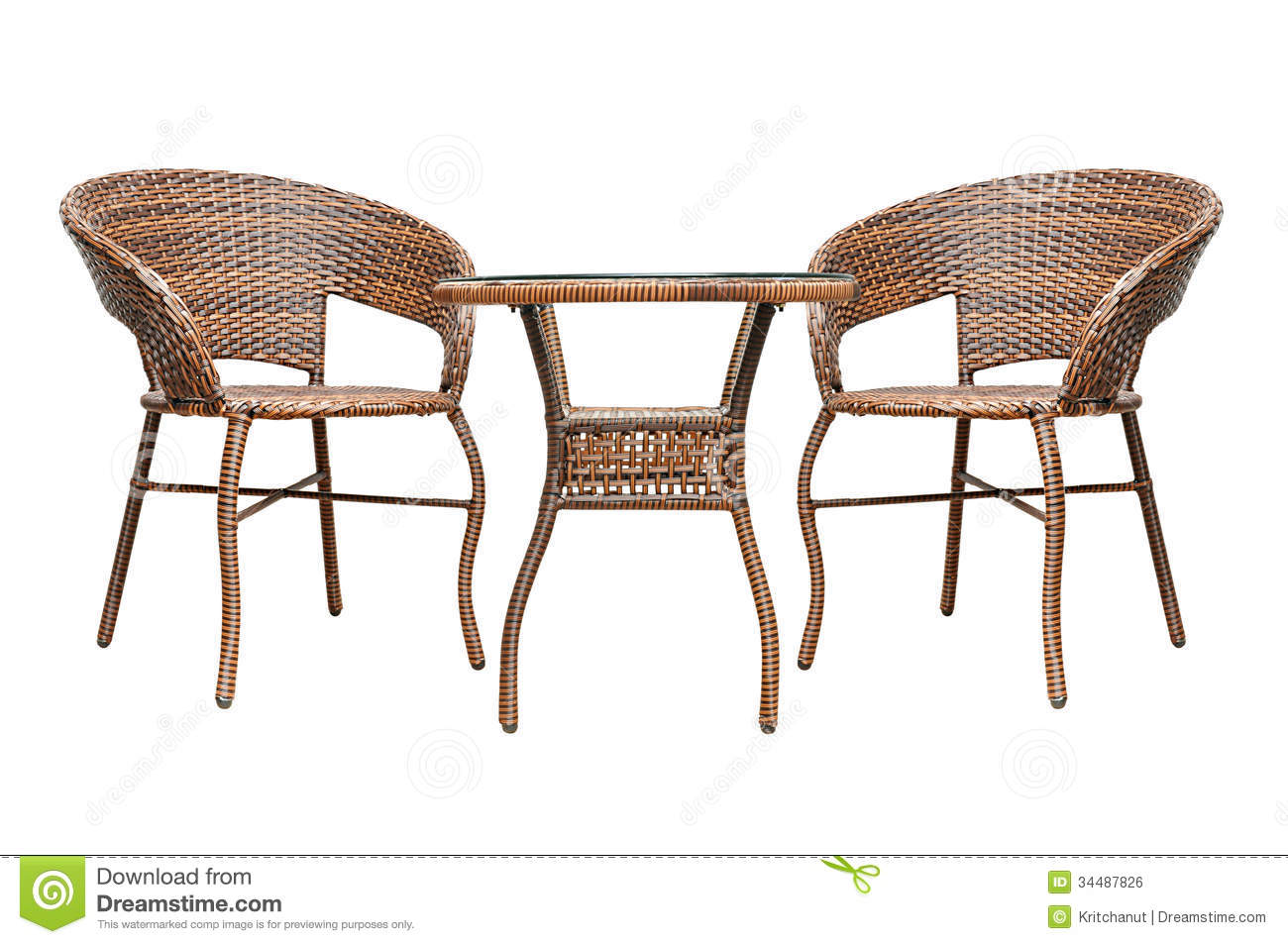 Rattan coffee table set - Rattan Coffee Table Set Royalty Free Stock Image - Image: 34487826