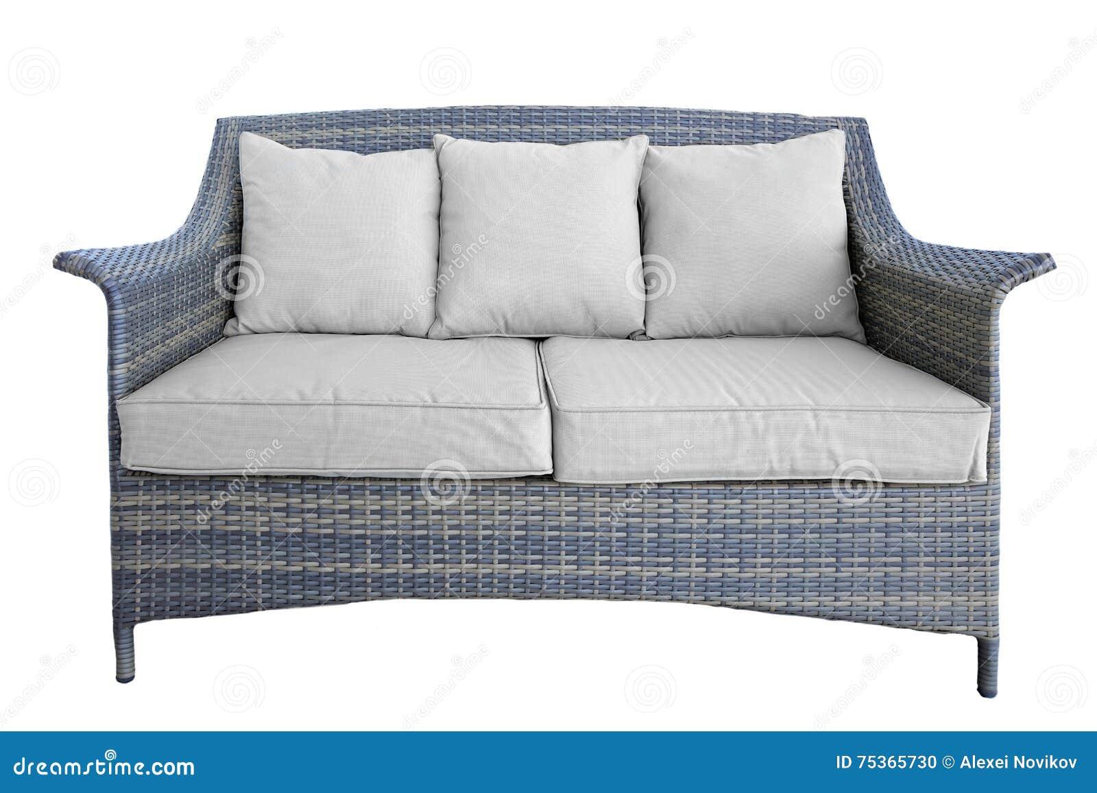 Rattan Couch Im Freien Mit Zwei Seat Und Kissen Weiß Lokalisiert