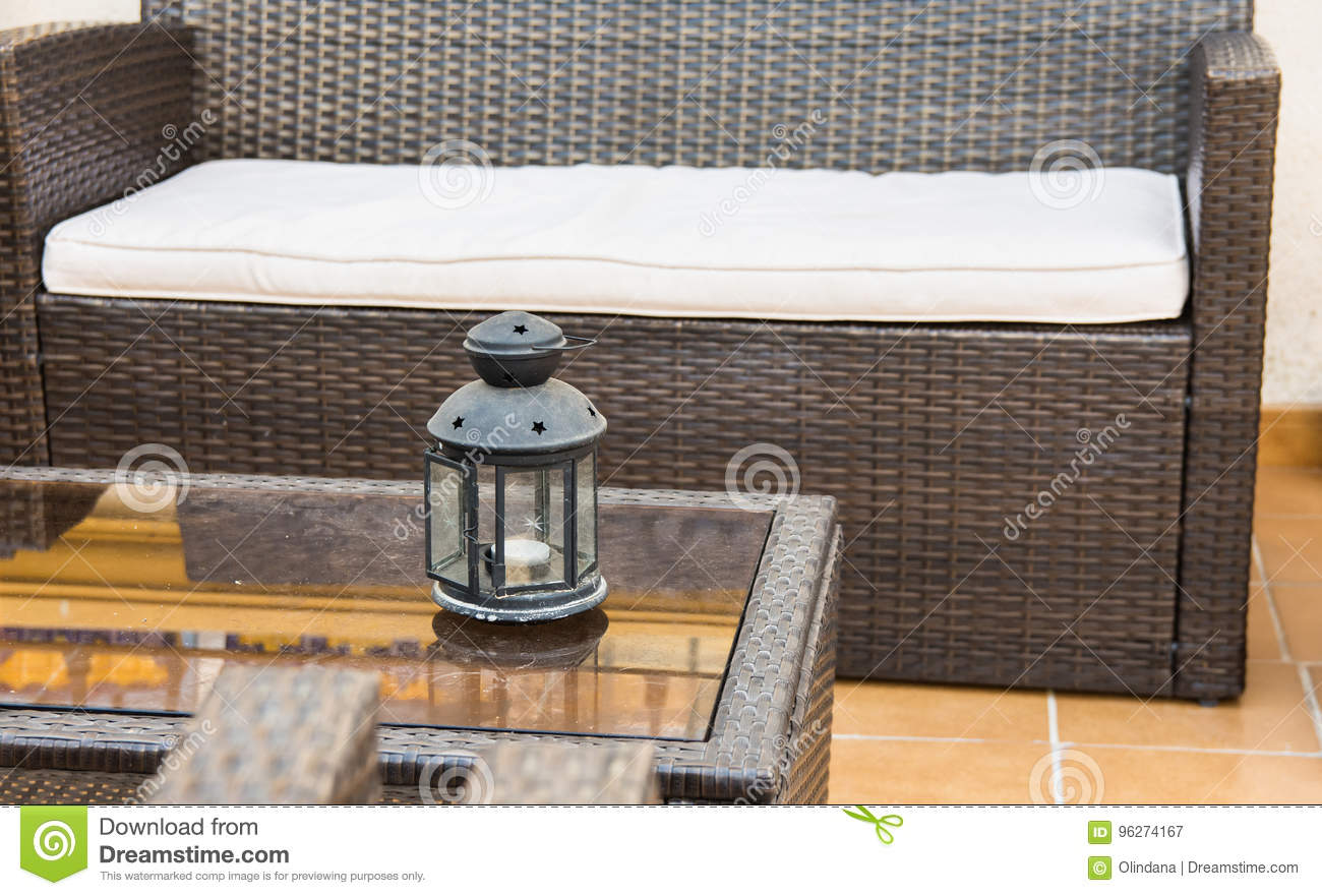 Rattan Furniture, Sofa Armchairs, Glass Coffee Table With Candle Holder,  Fragment Of Patio