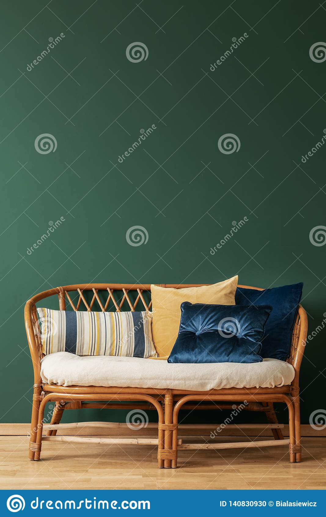 Image of: Rattan Sofa With Pillows In Elegant Living Room Interior With Copy Space On The Empty Grey Wall Stock Photo Image Of Rattan Room 140830930