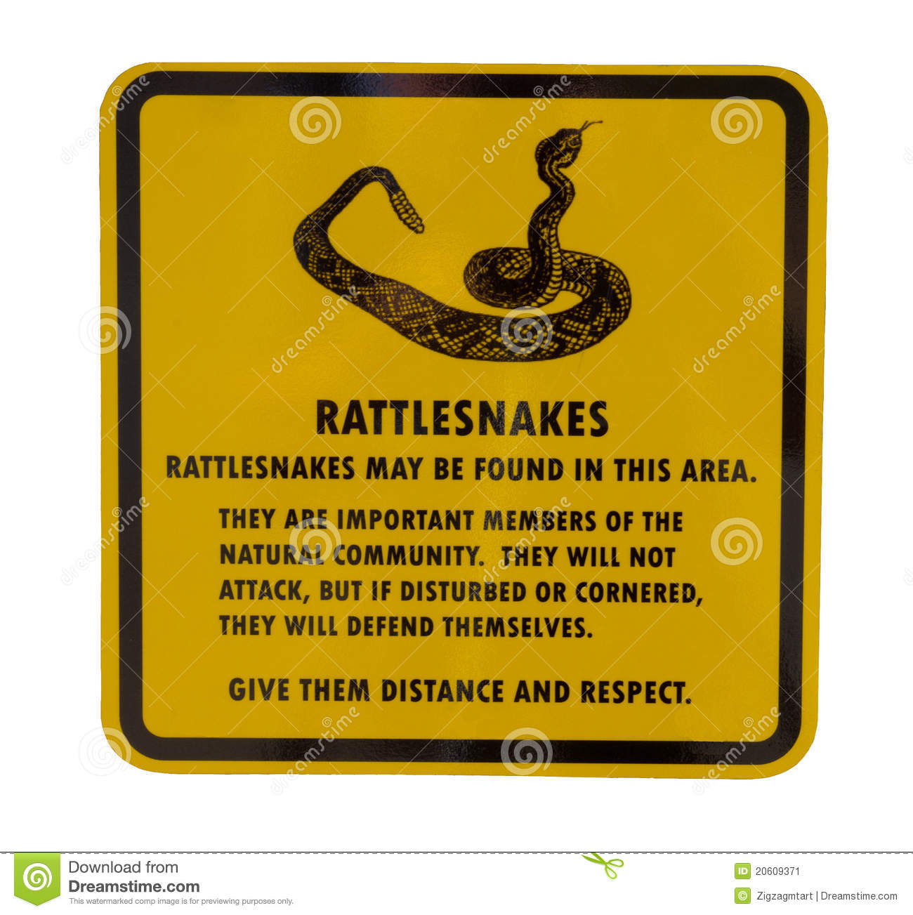 Rattlesnake Sign Stock Image - Image: 20609371