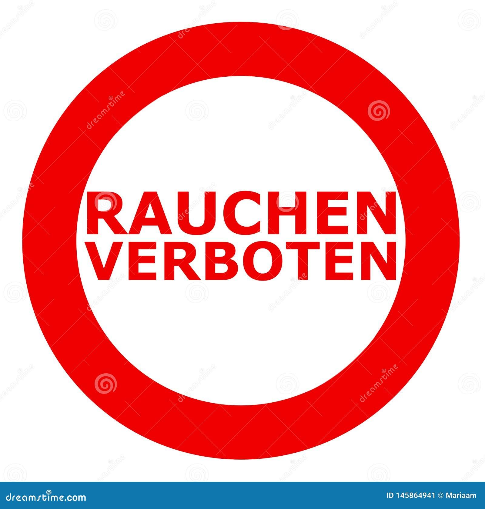 Rauchen verboten Rauchendes verbotenes Zeichen auf Deutsch