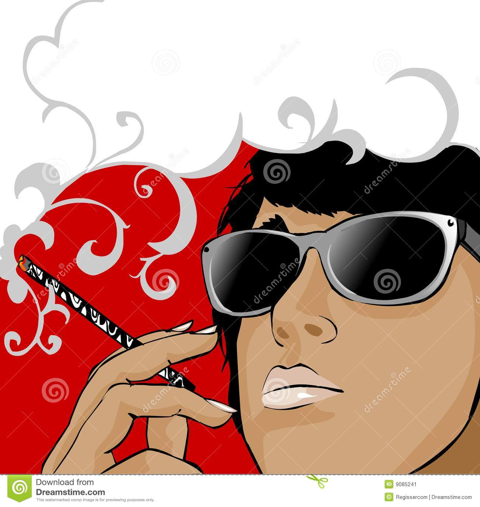 Rauchender Brunette