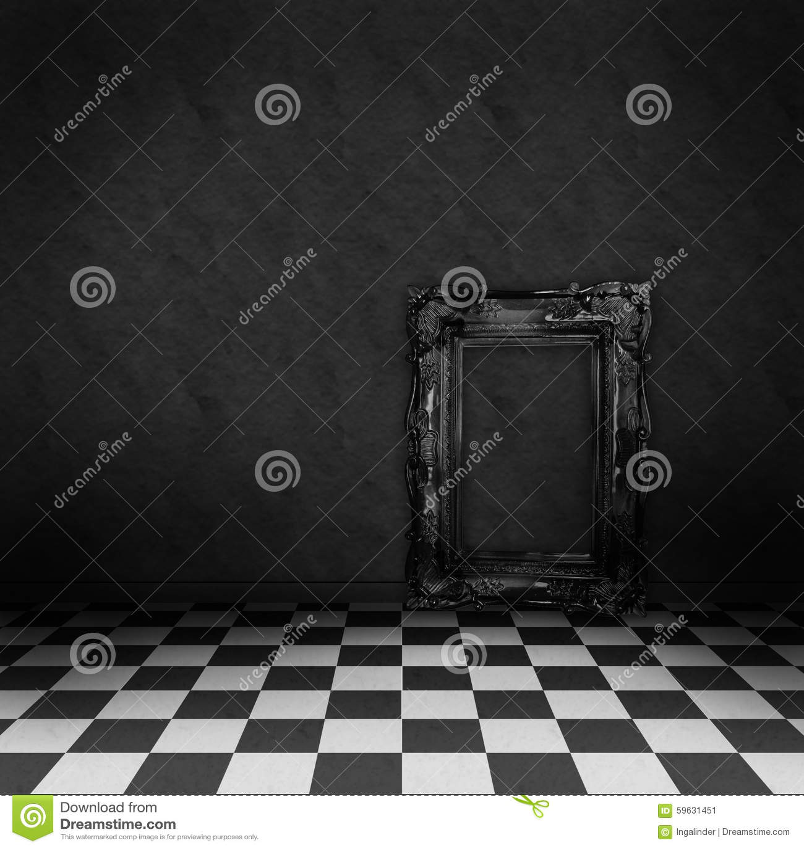 Raum mit schwarzweiss kontrolleur auf dem boden stock abbildung ...