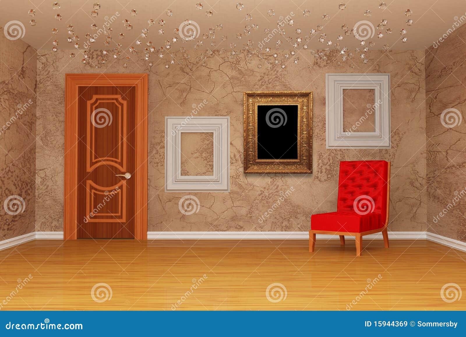 Raum Mit Tür, Rotem Stuhl Und Bilderrahmen Stock Abbildung ...