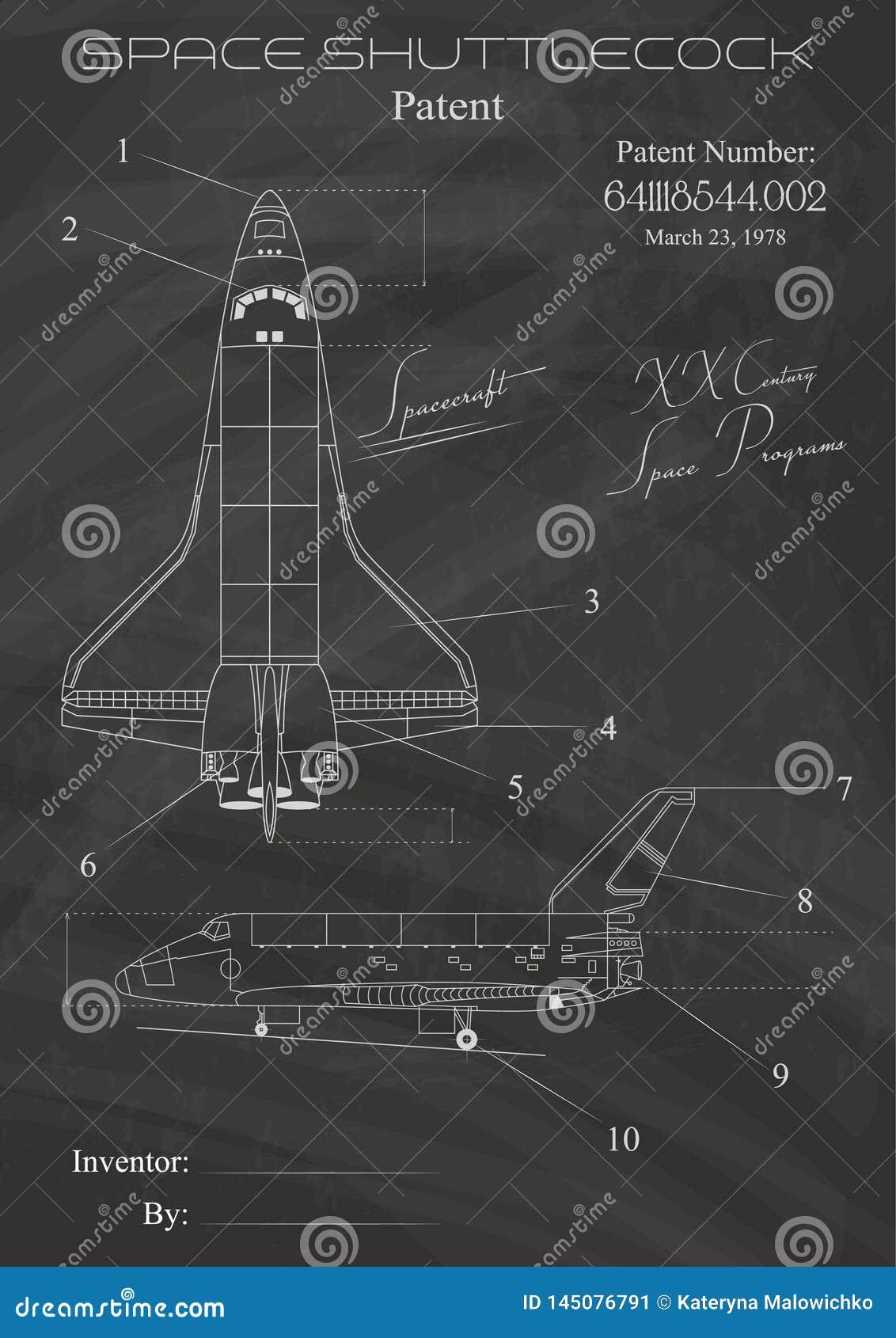 Raum-Schiffs-Patent-Zeichnungen Stylization