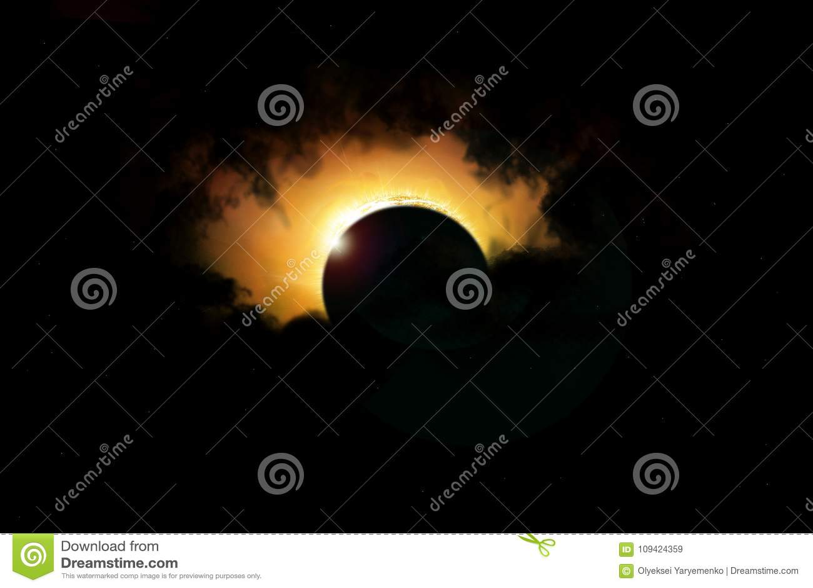 Raum-Sonnenfinsternis Sonnensystem, Sonneneruption, totale Finsternis