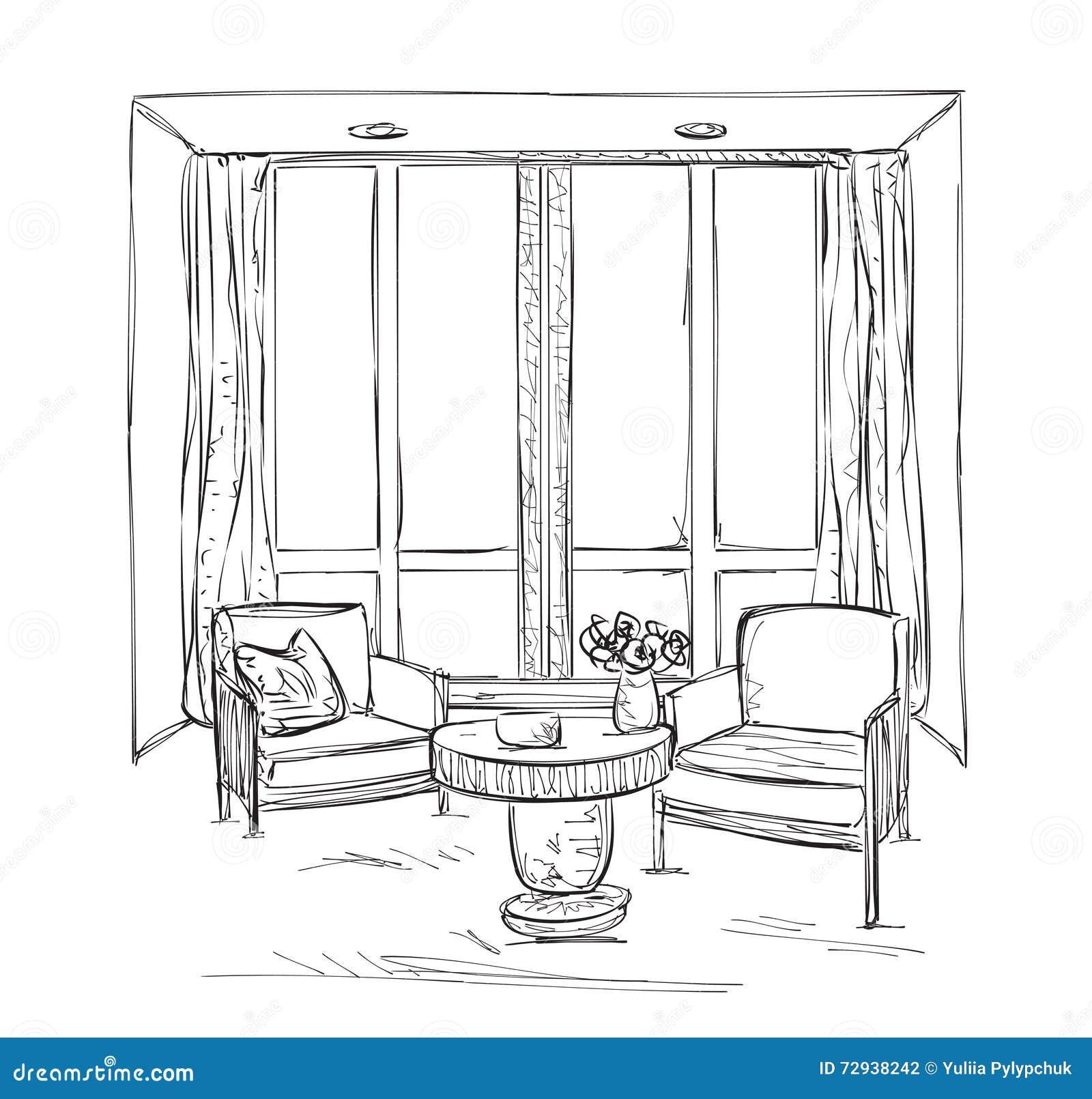 Stühle Gezeichnet Rauminnenraumskizze Hand Gezeichnete Stühle Vektor  Abbildung .