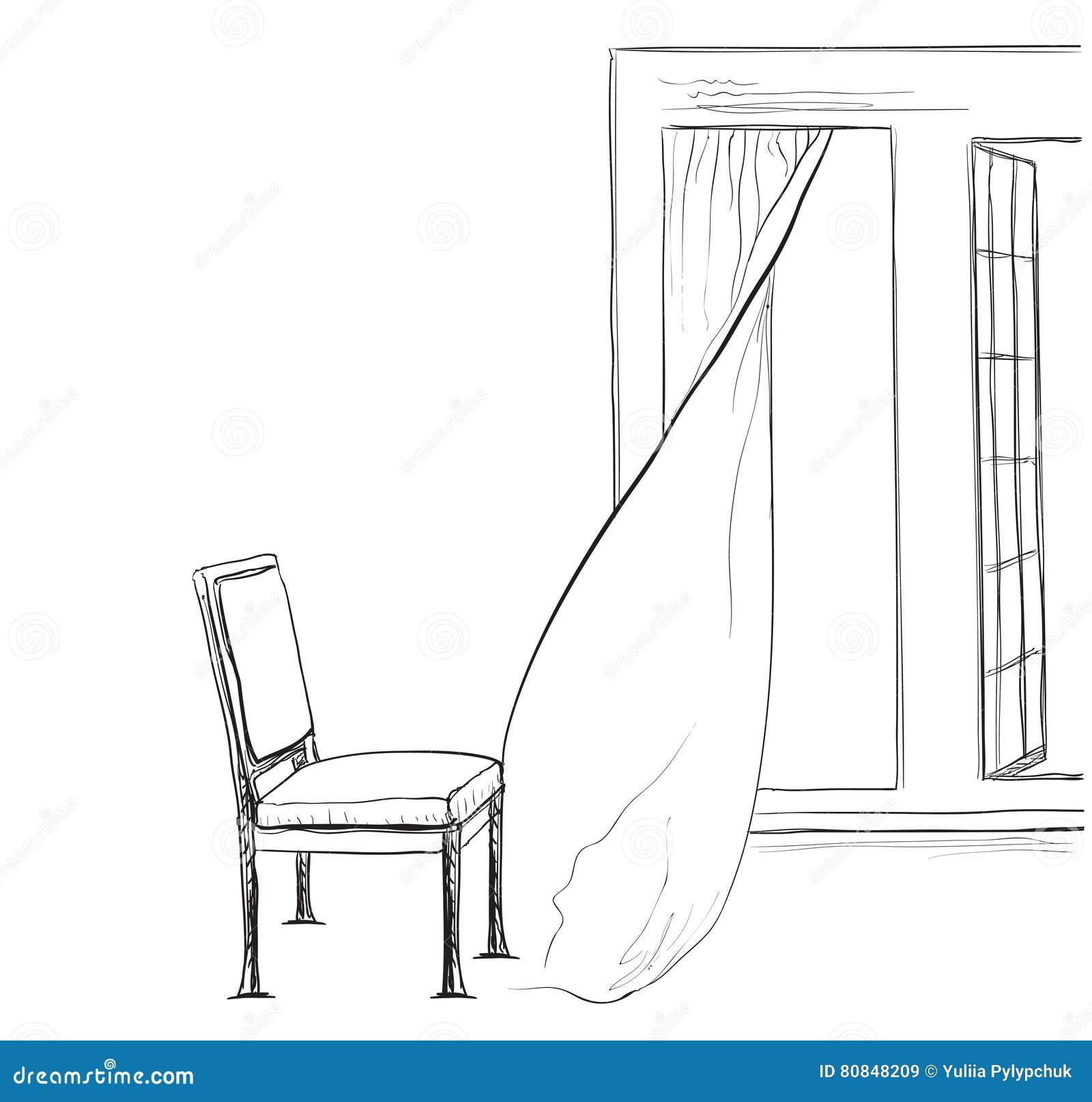 Rauminnenraumskizze Hand Gezeichneter Stuhl Und Fenster