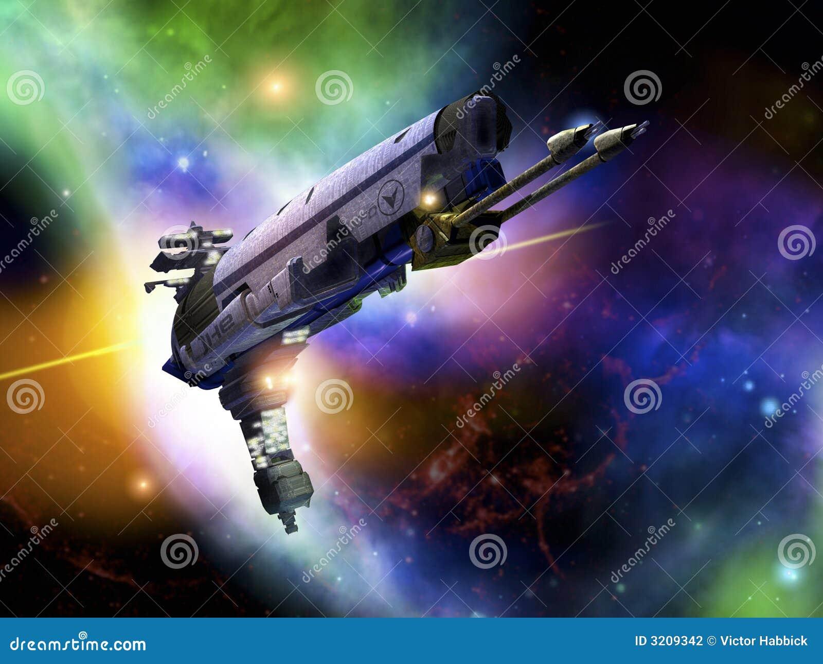 Raumschiff im Flug