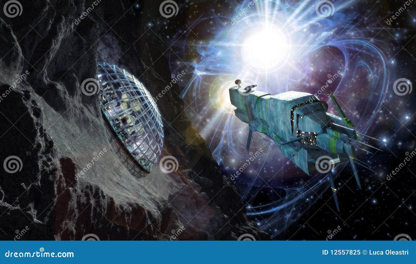 Raumschiff und Planetoid