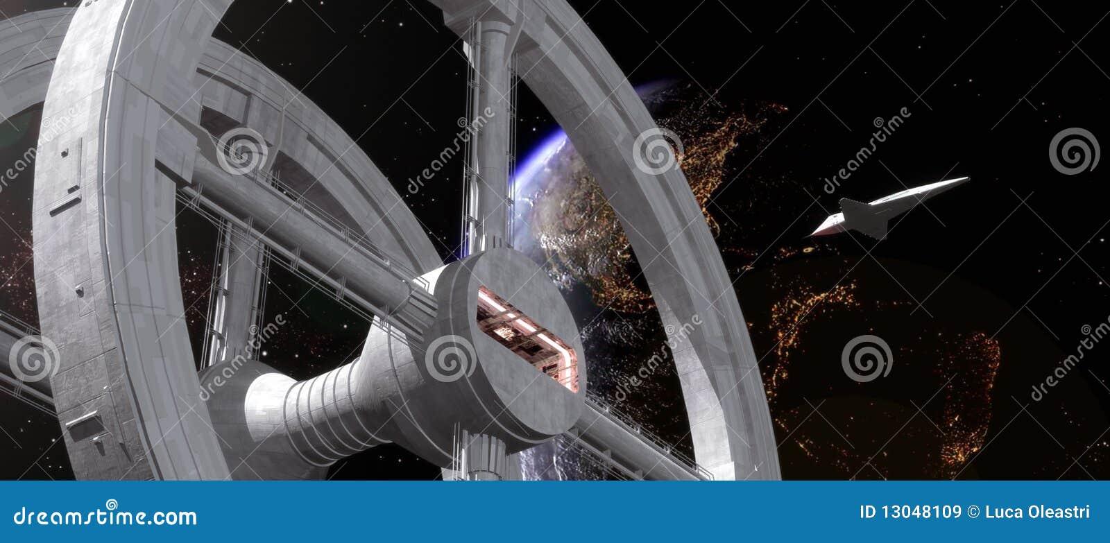 Raumstation und Doppelventilkegel