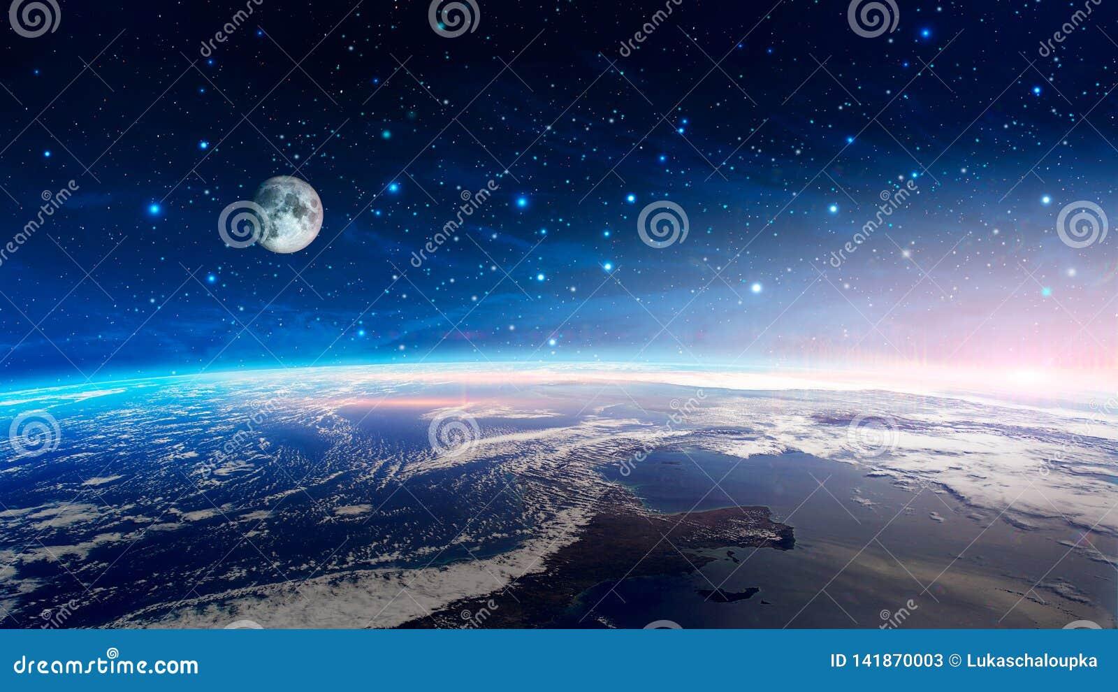 Raumszene Bunter Nebelfleck mit Erdplaneten und -mond mit Sternen Elemente geliefert von der NASA Wiedergabe 3d