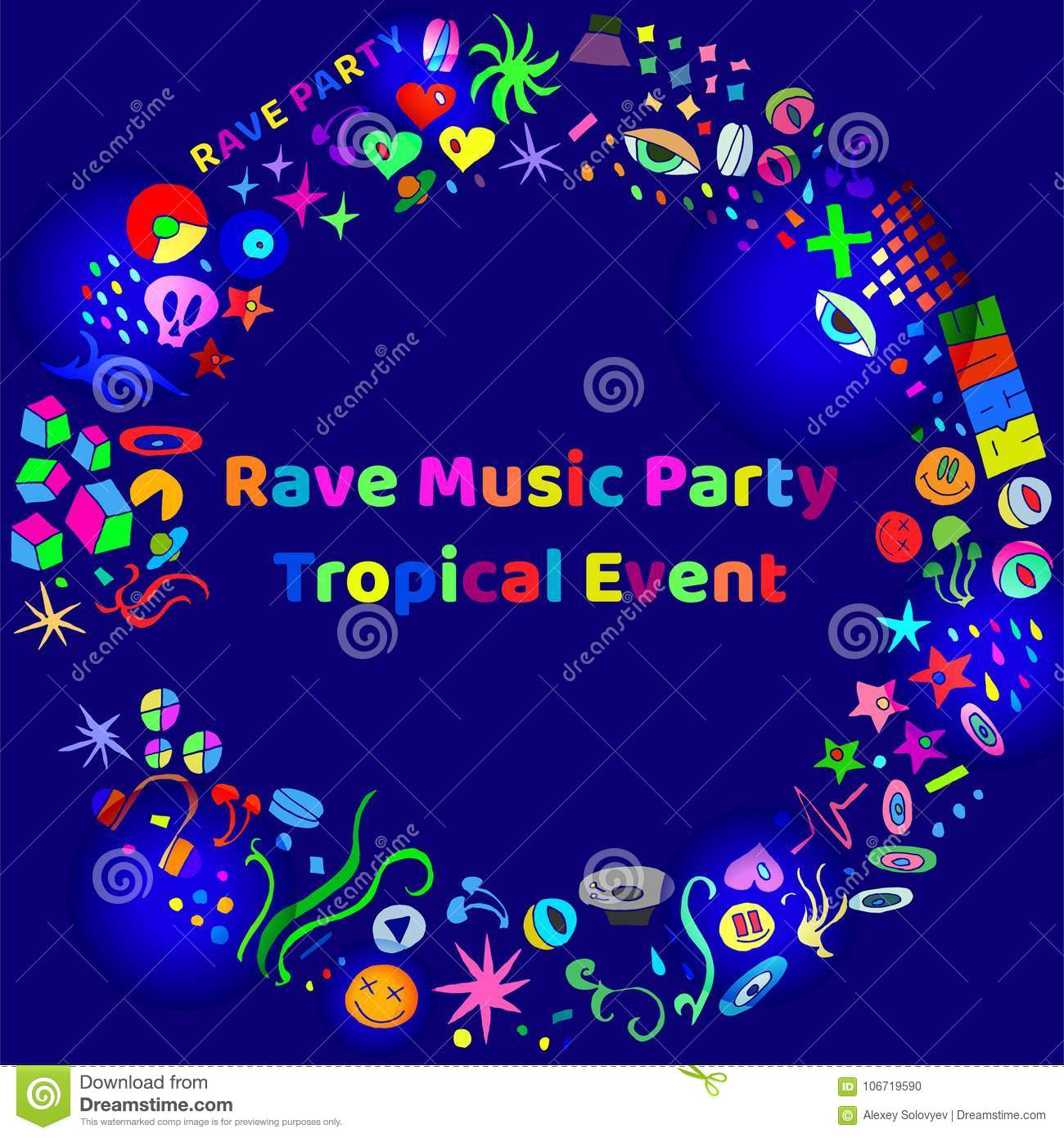 Rave Music Party Event Hand-drawn Elements Stock Vector