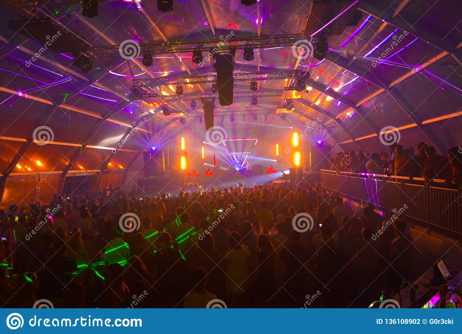 Rave Music, Summer Night Club, Colorful Lazer Lights