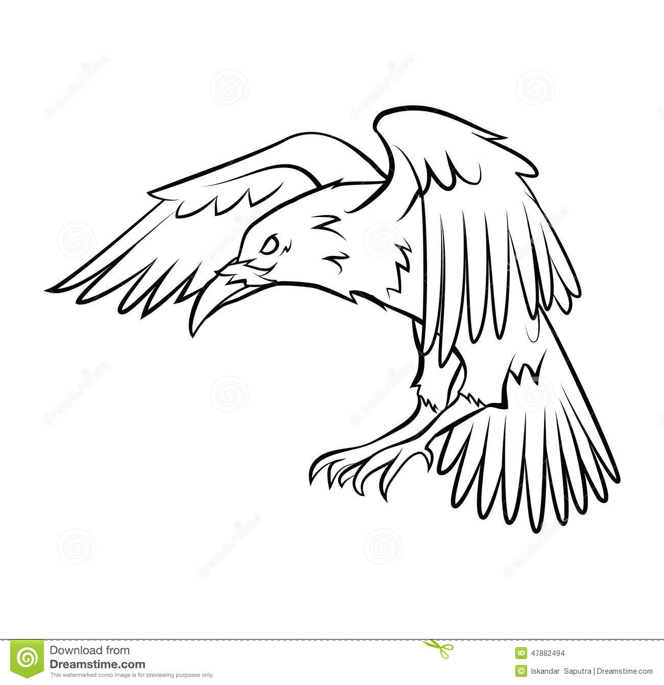 Line Drawing Raven : Raven stock vector image of black head graphic