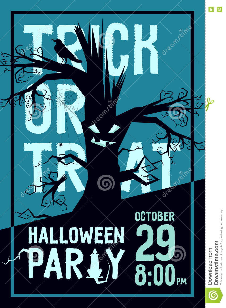 Raven Halloween Party Stock Vector - Image: 73877217
