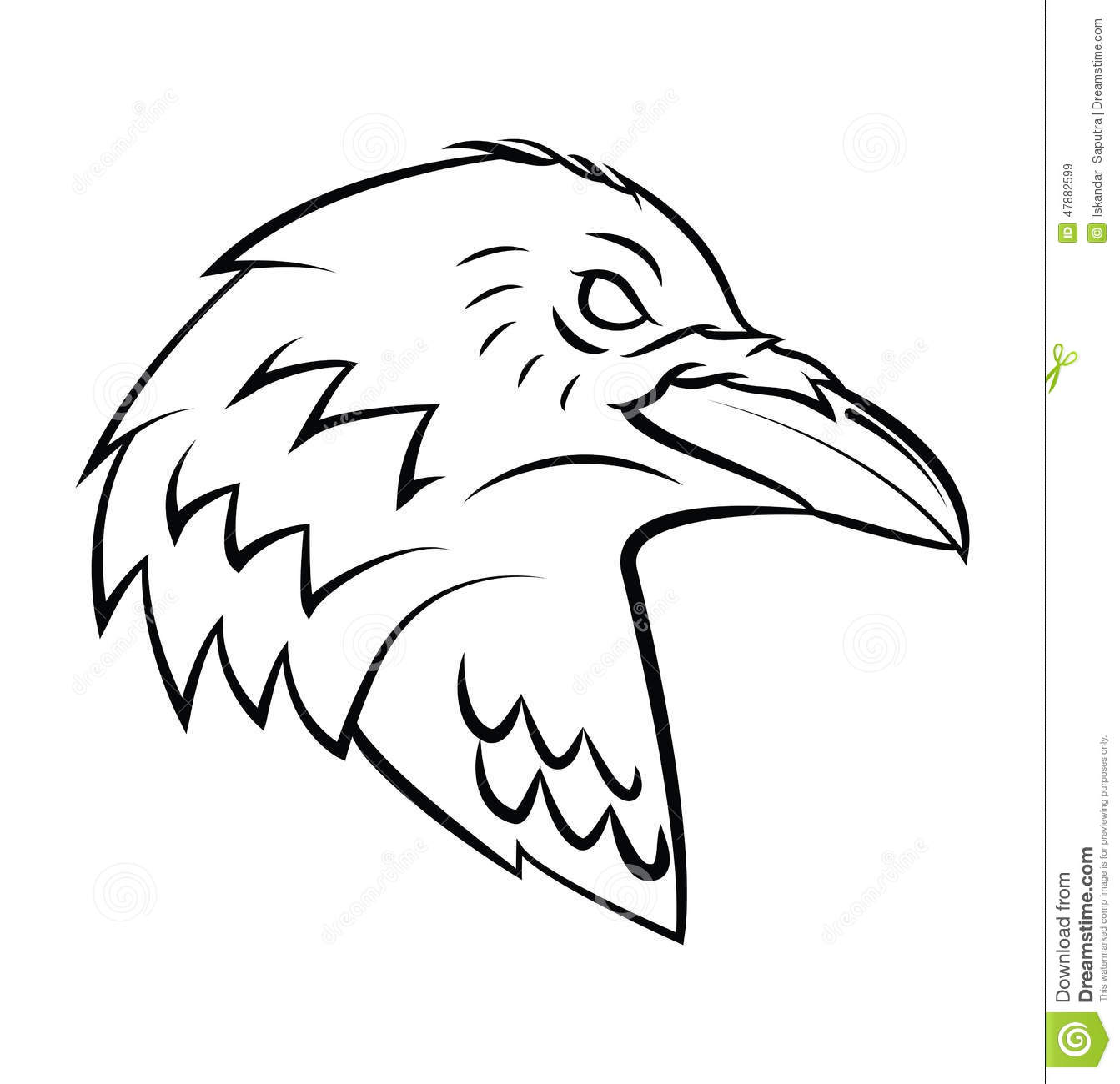 Line Drawing Raven : Raven head tattoo stock vector image of isolated wild