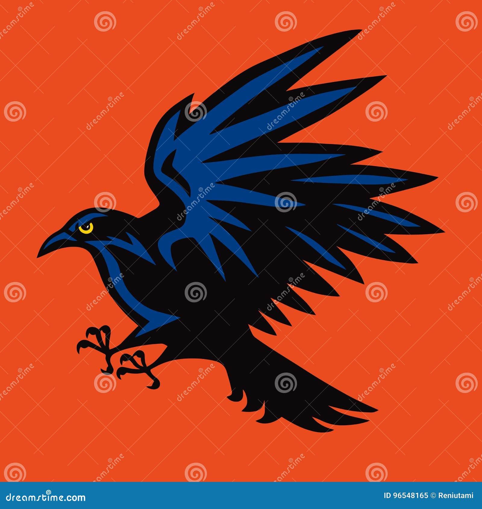 Raven Logo Angry Bird Sport Mascot Ilustração do vetor