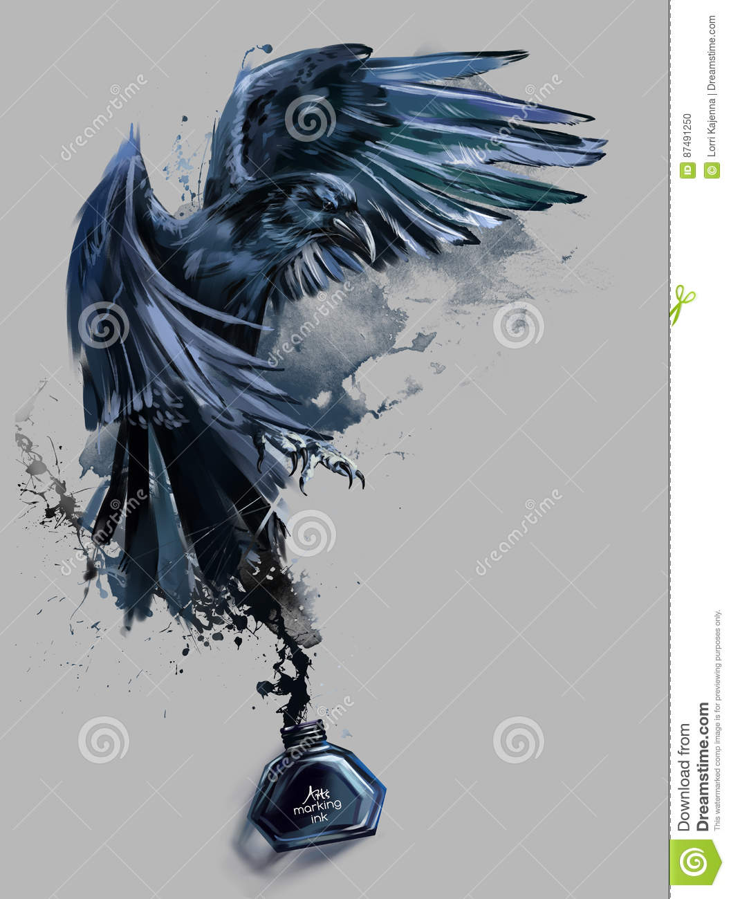 Parrot Home Decor Trend Flying High: Raven Watercolor Painting Stock Illustration. Illustration