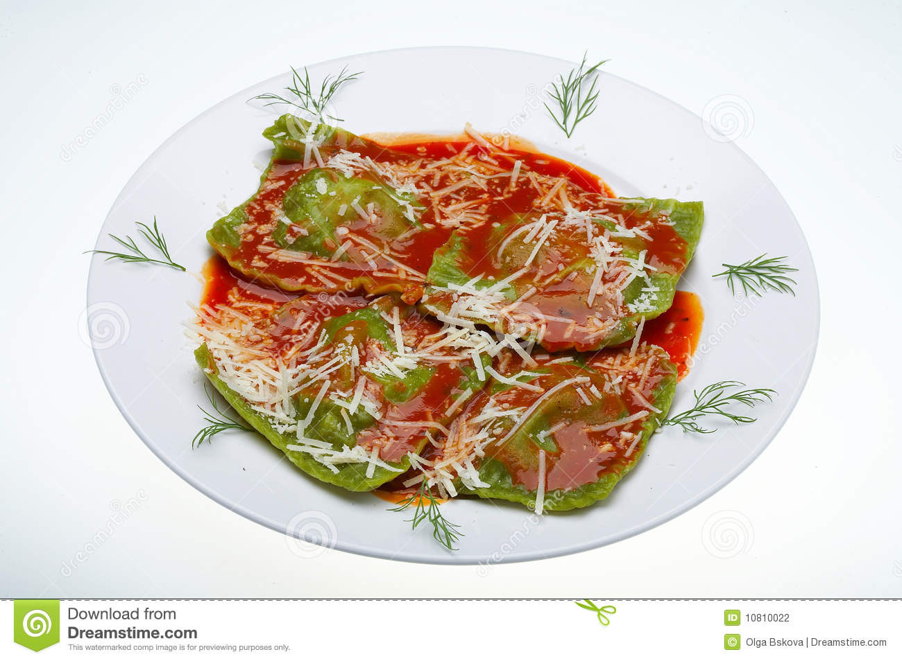 Ravioli italiano do alimento