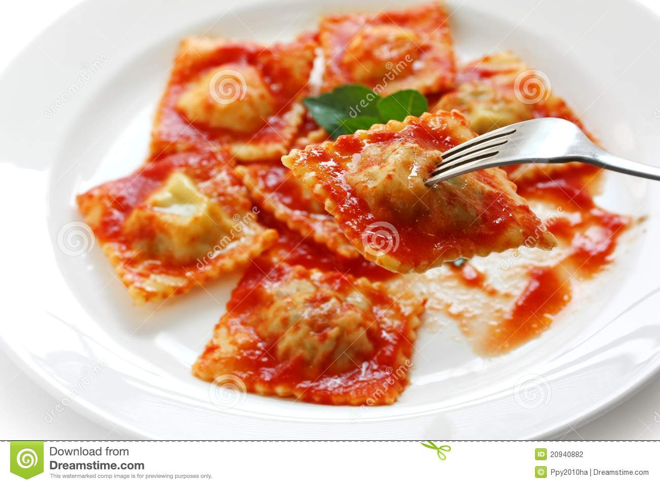 Ravioli pasta with tomato sauce italian food stock photo - Cuisine designer italien ...