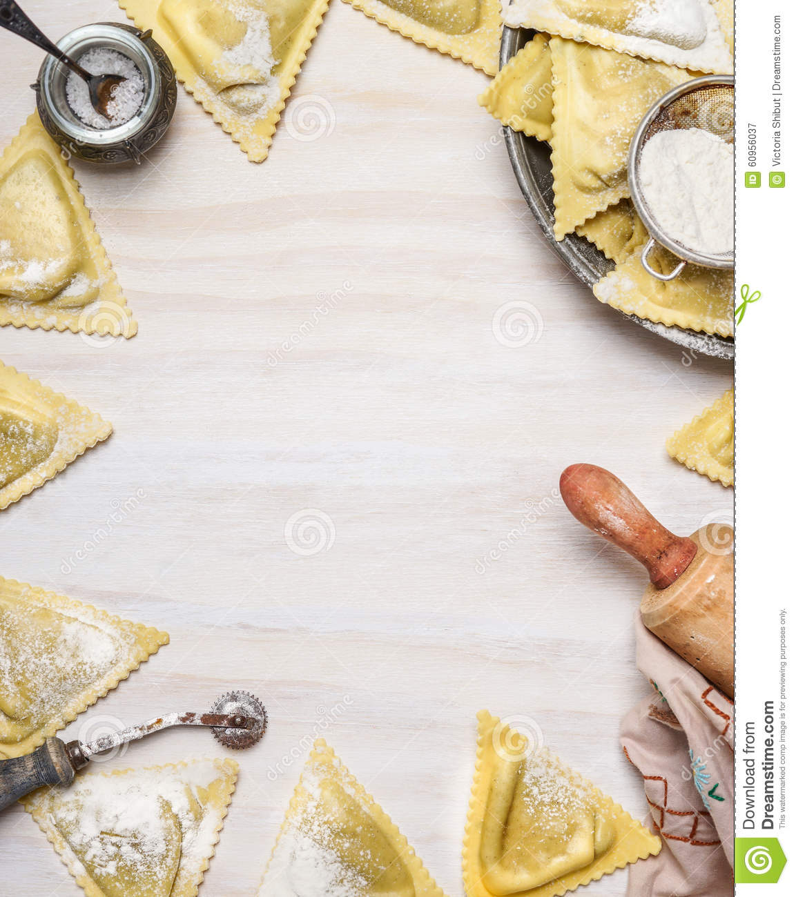 Ravioli Triangoli Making, Preparation On White Wooden Background ...