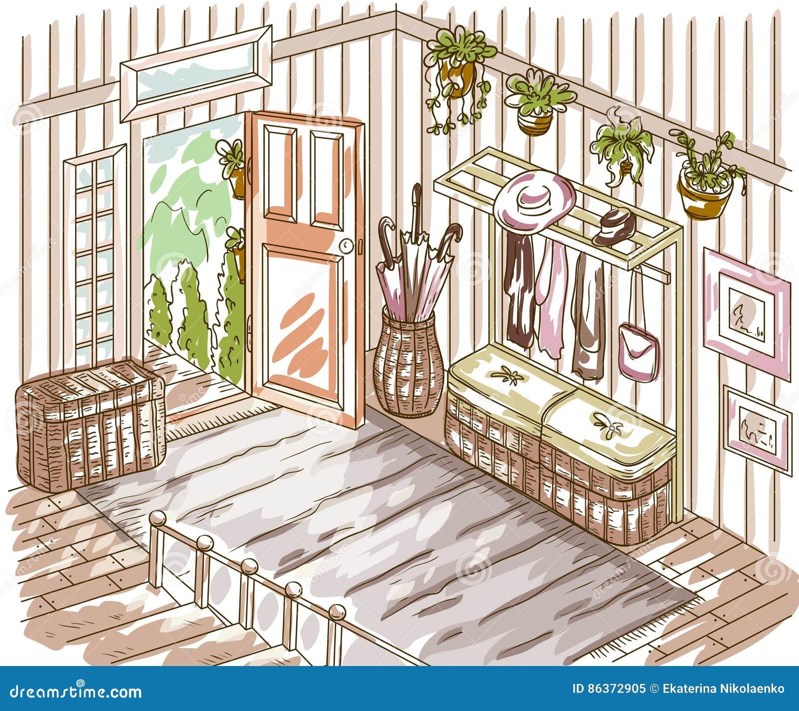 Ravissez L Int Rieur De Couloir Avec L Escalier Les Meubles De  # Meuble La Porte