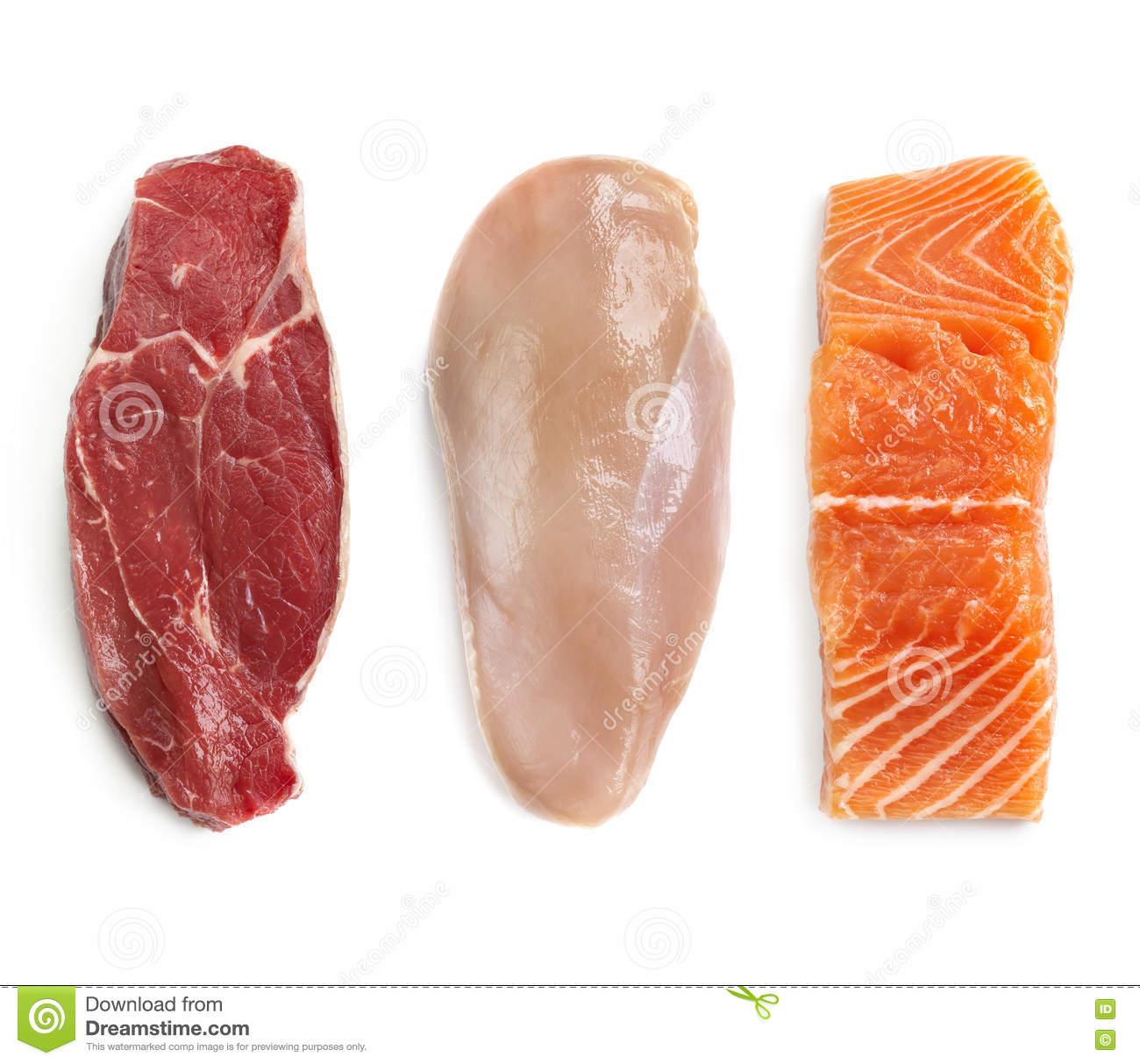 Raw beef chicken and fish isolated top view stock photo for Fishers chicken and fish